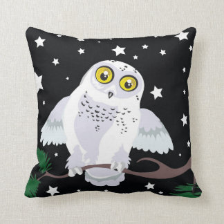 Snowy Owl Starlight Winter~throw pillow