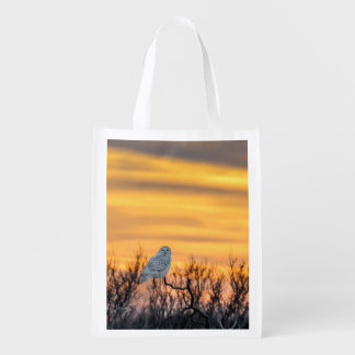Snowy Owl Sunset Reusable Bag