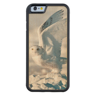 Snowy Owl taking off from snow Carved Maple iPhone 6 Bumper Case