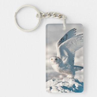 Snowy Owl taking off from snow Double-Sided Rectangular Acrylic Key Ring