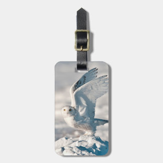 Snowy Owl taking off from snow Luggage Tag