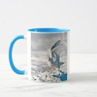 Snowy Owl taking off from snow Mug