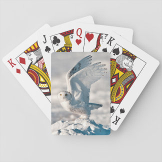 Snowy Owl taking off from snow Playing Cards