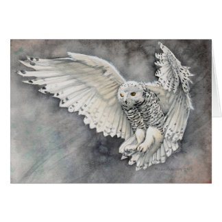 Snowy Owl Watercolor Wildlife Art Card