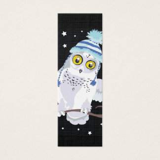 Snowy Owl with Hat Bookmark Mini Business Card