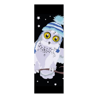Snowy Owl with Hat Bookmark Pack Of Skinny Business Cards