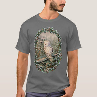 SNOWY OWL & WREATH by SHARON SHARPE T-Shirt