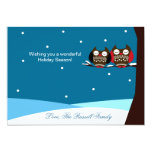 Snowy Owls Snow Holiday Christmas Card Personalised Announcement