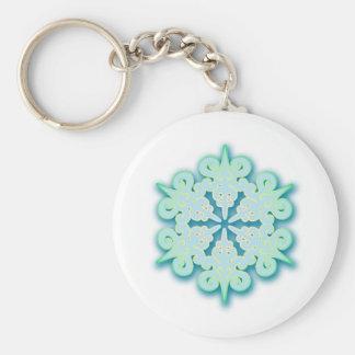 Snowy Pastel Winter Christmas Snowflake Basic Round Button Key Ring