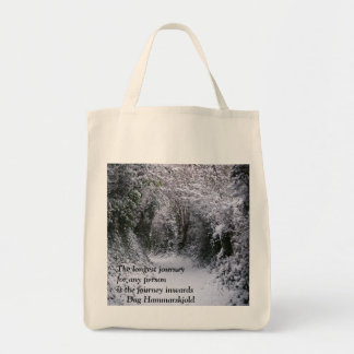 Snowy Path  - Quote Grocery Tote Bag