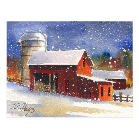 Snowy Pennsylvania Barns Postcard
