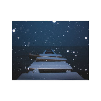 snowy pier at dusk canvas print