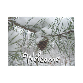 Snowy Pine Branch Winter Nature Photography Doormat