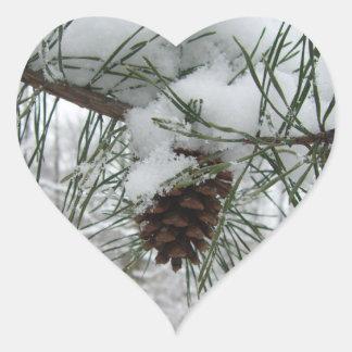 Snowy Pine Branch Winter Nature Photography Heart Sticker