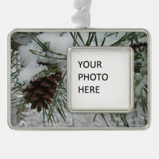 Snowy Pine Branch Winter Nature Photography Silver Plated Framed Ornament