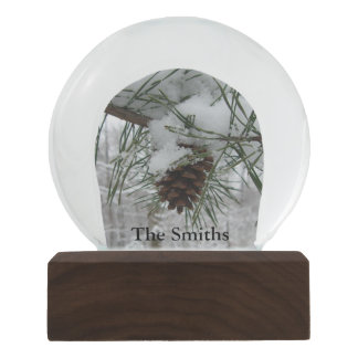 Snowy Pine Branch Winter Nature Photography Snow Globes