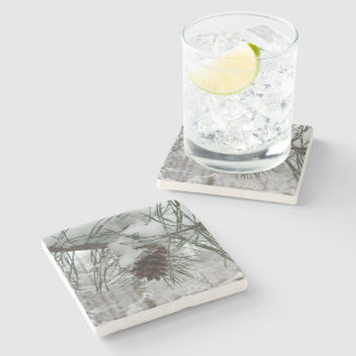 Snowy Pine Branch Winter Nature Photography Stone Coaster
