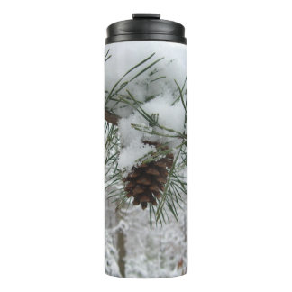 Snowy Pine Branch Winter Nature Photography Thermal Tumbler