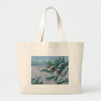 Snowy pine branches tote bag