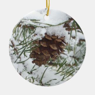 Snowy Pine Cone I Winter Nature Photography Round Ceramic Decoration