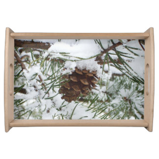 Snowy Pine Cone I Winter Nature Photography Service Tray