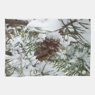Snowy Pine Cone I Winter Nature Photography Towels