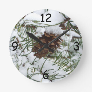 Snowy Pine Cone I Winter Nature Photography Wallclock