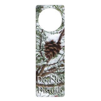 Snowy Pine Cone II Winter Nature Photography Door Knob Hangers
