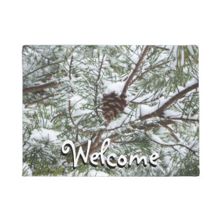 Snowy Pine Cone II Winter Nature Photography Doormat