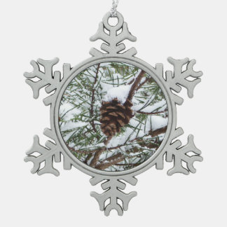 Snowy Pine Cone II Winter Nature Photography Pewter Snowflake Decoration