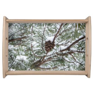 Snowy Pine Cone II Winter Nature Photography Serving Platters
