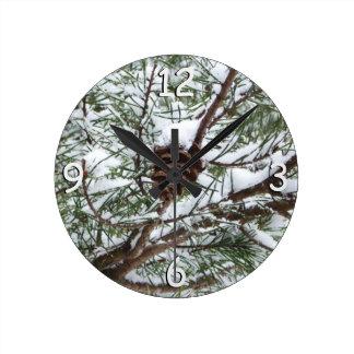 Snowy Pine Cone II Winter Nature Photography Wallclocks