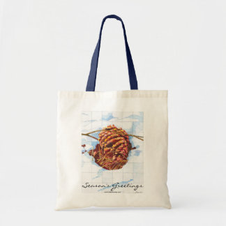 Snowy Pine Cone Budget Tote Bag