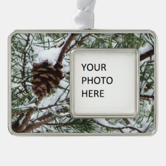 Snowy Pine Cone Winter Silver Plated Framed Ornament