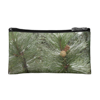 Snowy Pine Cones Bagettes Bag Cosmetic Bags