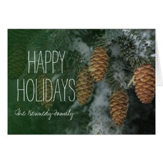 Snowy pine cones card