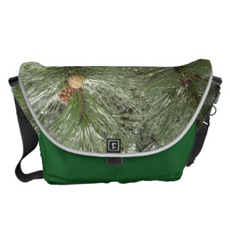 Snowy Pine Cones Messenger Bag