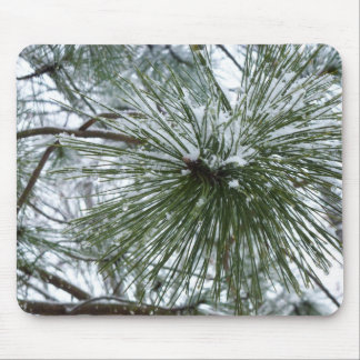 Snowy Pine Needles Green and White Winter Photo Mouse Pad