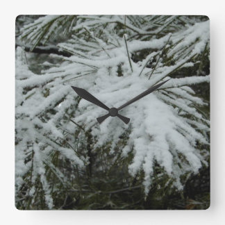 snowy pine square wall clock