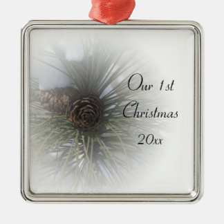 Snowy Pines 1st Christmas Together Christmas Ornament