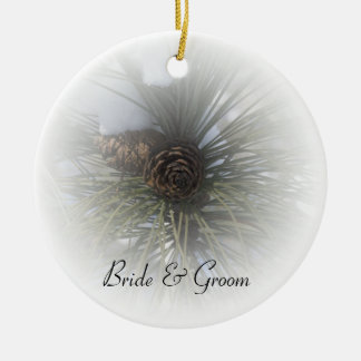 Snowy Pines Winter Wedding Christmas Ornament