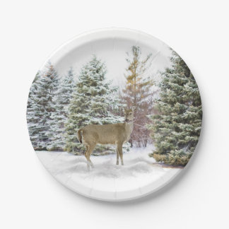 Snowy Pines with Deer Paper Plate