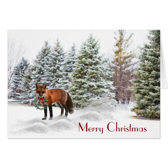 Snowy Pines with Fox Christmas Nature Card