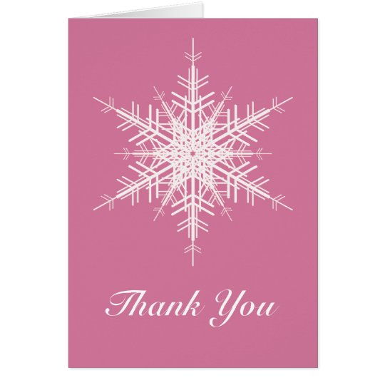 Snowy Pink Thank You Card