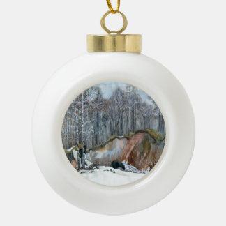 Snowy ravine ceramic ball christmas ornament