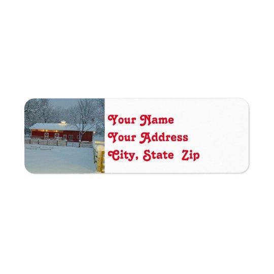 Snowy Red Barn Farm Christmas Return Address Label