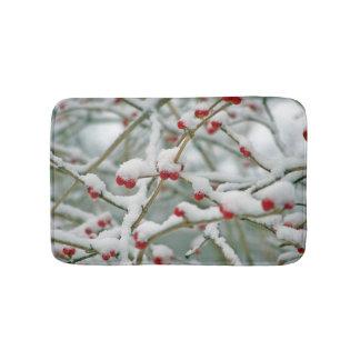 Snowy Red Berries Winter Scene Bath Mats