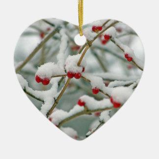 Snowy Red Berries Winter Scene Heart Christmas Ornament