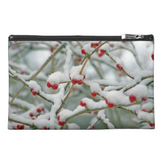 Snowy Red Berries Winter Scene Travel Accessory Bag