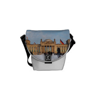 Snowy Reichstag, Berlin, (Reichstag in the snow) Messenger Bags